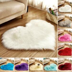 Heart Shaped Fur Fluffy Floor Mat Shaggy Bathroom Carpet Anti-slip Bath Rug