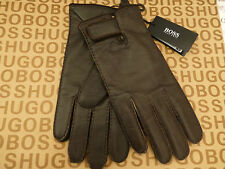 HUGO BOSS gants KRANTO2 exquis en cuir souple marron Taille Lrg gants grise RRP£ 75