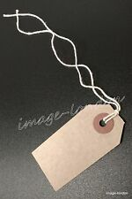 More details for manila brown buff strung tie on tags labels retail luggage tags with string