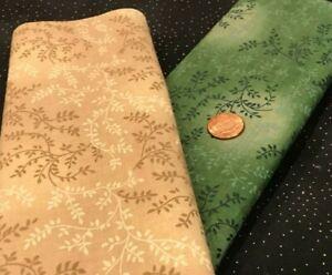 Vines & Leaves* Tonal Tan & Tonal Green * 100% Cotton Remnant * Unbranded