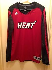 ADIDAS MIAMI HEAT SHOOTER LONG SLEEVE T SHIRT YOUTH XL (18) RED NBA BASKETBALL