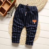 IENENS Baby Kids Boys Trousers Children Boy Bottoms Striped Elastic Waist Pants