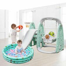 Toddler Slide and Swing Set 5 in 1 Basketball Hoop Indoor Outdoor Playground