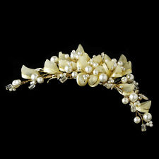 Bridal Comb #3107 Gold and Ivory Champagne