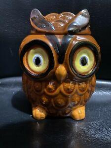 """Vintage MCM Ceramic Owl Lidded Sugar Bowl Lid /Cookie Jar 5"""" inch Made in Japan"""