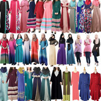 Muslim Abaya Kaftan Islamic Jilbab Women Long Maxi Cocktail Dress Robe Dubai