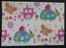 2 Sheets Simon Elvin Gift Wrap OWL & TORTOISE Happy Birthday Wrapping Paper Tag