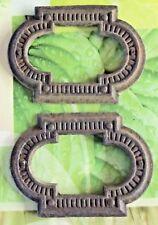 2 Très Ancienne Plaque de Propreté Fonte Porte Serrure Ornement 1920 Art deco