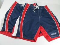 """Lot of 2 Beach Rays Board Shorts Budweiser Beer Mens Sz 32"""" Red White Blue"""