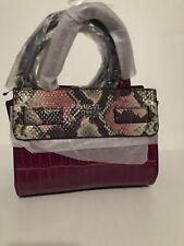 Guess Cate Mini Crossbody Satchel Tote purse Handbag Crocodile Embossed Plum New