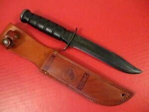WWII USN Mark 2 Fighting Knife - Blade Marked: USMC Ka-Bar w/Leather Scabbard #3