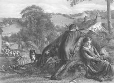 YOUNG MAN WOMAN LOVERS UPSET Over FIRST FIGHT ~ Antique 1865 Art Print Engraving