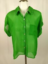 Xhilaration Womens Blouse Top Size Large Green Sleeveless Sheer Casual B1/522