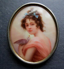 YOUNG WOMAM WITH PET BIRD MINIATURE PORTRAIT PAINTING ON PORCELAIN