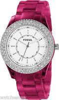 Fossil Women's Stella Resin Crystal Bezel White Dial Watch ES2451