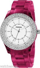 Fossil Women's Stella Resin Crystal Bezel White Dial Watch ES2451