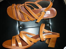 nº 40 TOLINO preciosos zapatos sandalias piel, mujer marrón tacón talla REBAJAS