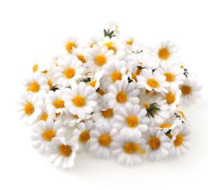 White Daisies Artificial Flower Heads 3.5cm Wide Daisy Craft Embellishments x 10