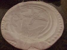 "New Blue Sky Clayworks Magic Sea White Starfish 14.5"" Round Serving Platter"