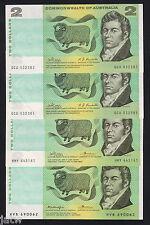 Australia. (1968-1976)  2 Dollar Notes x 4 (3 diff Signatures).  Mixed Grades