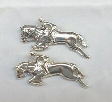 Silver Race horse with jockey pins