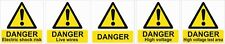 DANGER ELECTRICITY WARNING STICKERS 10 stickers-self.adh/waterproof 50mmx50mm