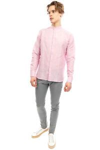 RRP €125 HODGSON FASHION Linen Shirt Size XL Pink Long Sleeve Grandad Collar