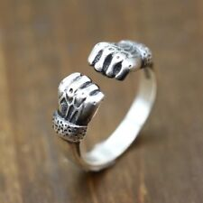 Solid 925 Sterling Silver Hallmarked Mens Fist Ring Open Adjustbale Size