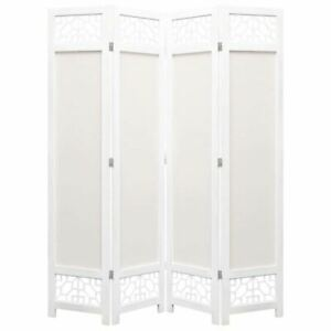 Folding Room Divider 4 Panel Freestanding Partition Fabric Screen Privacy Cream