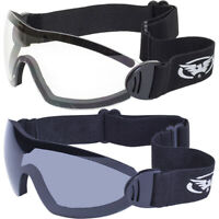 2 Goggles Motorcycle Riding Skydive Googles Clear & Smoke Glasses Sunglasses