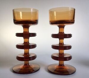 Wedgwood Kings Lynne Glass Candle Holders Three Ring Mid Century Sheringham