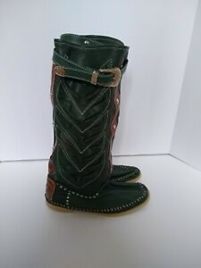 Hector Riccione Leather Moccasin Boot size 38 EU/ 7.5 US hunter green Traforatto