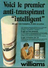 Publicité ancienne produit de beauté déodorant Williams 1971 issue de magazine