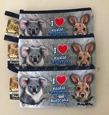 3X I Love Koala , Kangaroo & Australia Souvenir Pencil Case Zipped Bag
