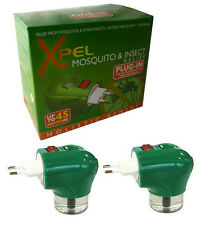 2 x Xpel Travel Insect Mosquito Euro Plug-in Repellent Liquid Lasts 45 Nights