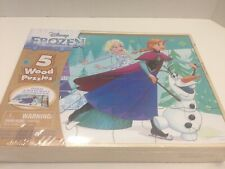 Disney Frozen 5 Wood Puzzles In Wooden Storage Box