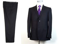 Z Zegna 40R Charcoal Double Pinstripe Wool Suit Flat Pants 34x29