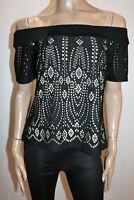 Bird Keepers Brand Black Nude Off Shoulder Cut Out Stencil Top Sz 16 BNWT #SD22