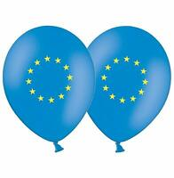 """European Union Flag  12"""" Blue & Yellow Printed Latex Balloons pack of 6"""