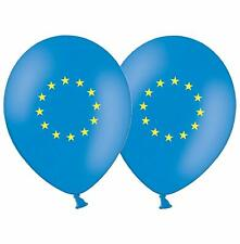"""European Union Flag  12"""" Blue & Yellow Printed Latex Balloons pack of 15"""