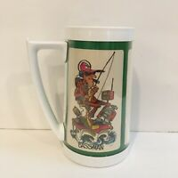 Vintage 70s Fishing Thermo-Serv Coffee Cup Mug Insulated USA Trout Bass Trophy