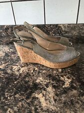 Next Silver/gold Size 8 Wedges  4 Inch Heel