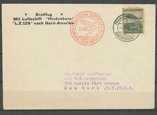 1936 Envelop Zeppelin LUFTSCIFF Hindemburg LZ129 To NORD-Amerika New York  H2374