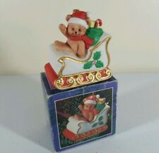 Vintage Sleigh Bell Bear Christmas Ornament Hand Painted Porcelain Jsny #8838-B