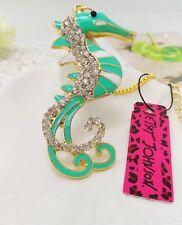 Betsey Johnson Necklace Seahorse Green Gold Crystals Bling Ocean Beach