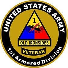 "United States Army Veteran 1st Armored Division Aluminum Sign 11.75"" Round"