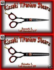 "Kissaki Left Handed Hair Shears Sensuki L 5.5"" & Daisaku L 26t Black Red Combo"