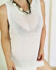 SPORTSCRAFT WOMENS KNIT TOP VEST DRESS WHITE COTTON SZ M