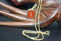 "Antique Victorian Intaglio Agate Seal 9K Gold Fill Pendant 10K Rope Necklace 18"""
