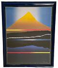 """Night Reflections By Arthur Secunda Litho Landscape 1982 L.A. 26X30"""" Framed USA"""